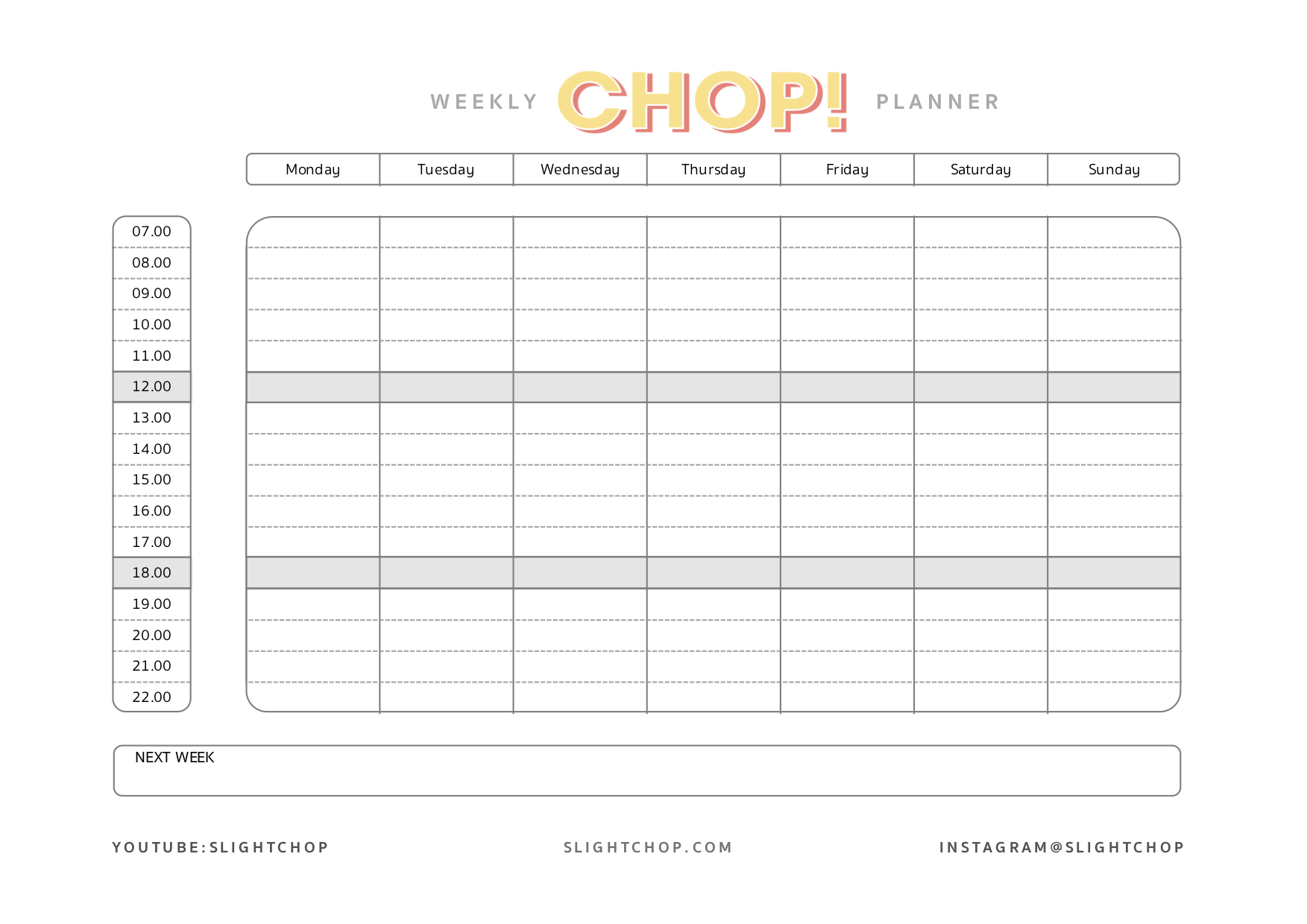 The CHOP! Free Weekly Planner for your most productive week | Freebies | Slight Change Of Plans | CHOP!